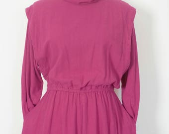 1970s Hari Casuals California hot pink magenta natural cotton hippie dress