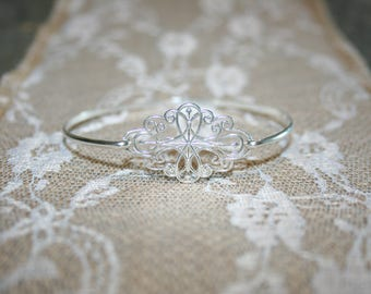Sterling Silver Bangle, Filigree Bangle, Bridal Bangle, Wedding Jewelry, Delicate Bangle