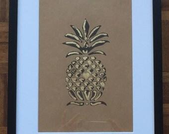 Pineapple Lino cut print