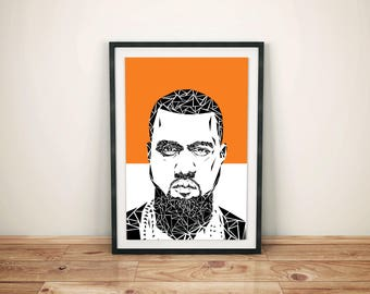 Kanye West Unique Contemporary Geometric Art print in orange size A4 or A3