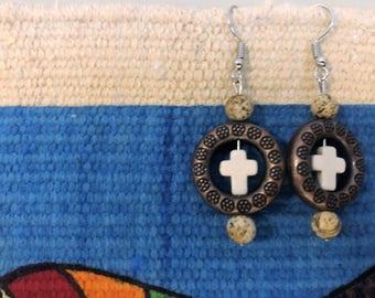 White cross earrings