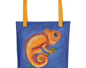 "Tote Bag: Cute Animal Illustration ""Orange Chameleon"" by Malinee Ganahl.  Whimsical drawing on blue."