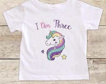 I Am Three Pretty Unicorn design boho - Third Birthday Girl Shirt 3rd Age 3 Birthday Shirt Gift