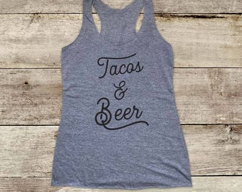 Tacos & Beer - drinking party Mexican food - Soft Tri-blend Soft Racerback Tank - funny fitness gym yoga running exercise birthday gift