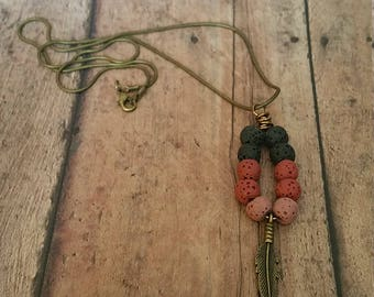 Antiqued Feather with Lava Bead Necklace