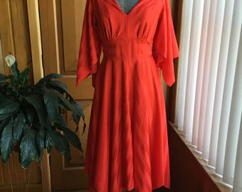 1970's disco queen red dress - size S