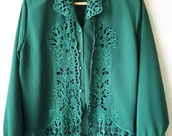 Vintage embroidered ladies blouse with lace up front detail