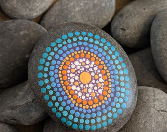 Hand Painted Mandala River Stone   Warm and Cool