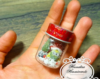 Christmas Minions in PolymerClay | The Minions Christmas | Minions in Christmas glass bottle