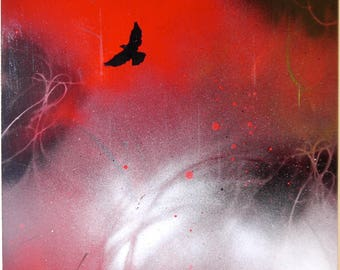 """COSMIC WINGS (red-2) 12"""" x 12"""" acrylic, spray paint on board, wood backing, ready to hang"""