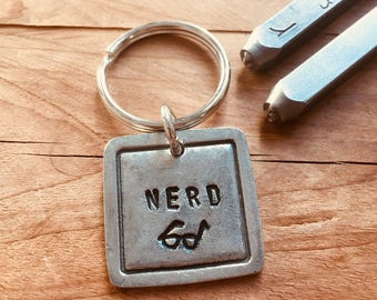 Nerd Keychain, Metal Nerd Keychain, Nerdy Gifts, Nerdy Gifts for Him, Geeky Gifts, Unique Student Gift, Booklover Gift, Unique Teacher gift