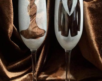 Frosted Mr. and Mrs. Champagne Glasses