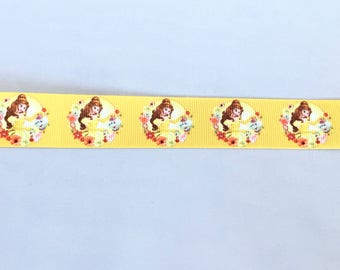 Beauty and The Beast Belle 1 inch 25 mm Grosgrain Ribbon for Hair Bows Scrapbooking Crafts Party Cake Birthday Decoration