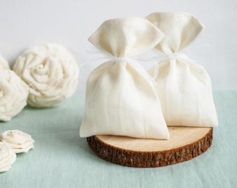 Ivory Linen favor bags 10 pcs, Fabric gift bags, candy bags, wedding thank you bags, shower favor bags, linen and lace bag