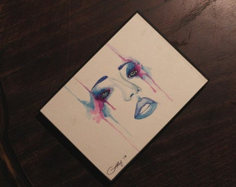 """Art by Stayfee Original Watercolor 5x7"""" (with thin black frame)"""