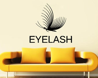 Wall Decal Window Sticker Beauty Salon Woman Face Eyelashes Lashes Eyebrows Brows t656