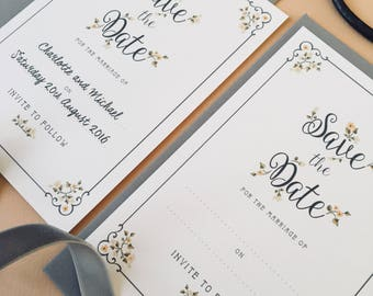 Delicate Flowers Save the Date