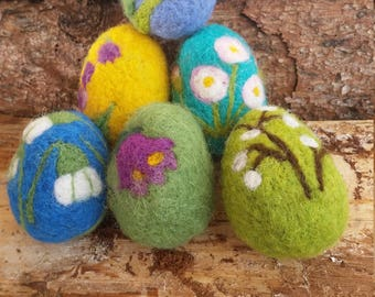 6 Needle felted Easter eggs - 6 Nadel gefilzte Ostereier