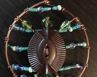 Swimming Sea Turtle Copper Pendant