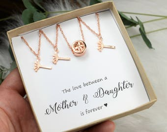 Mother daughter jewelry 2 3 4 5 daughters mother of two daughters mother daughter necklace set mother daughter necklace gold silver rose