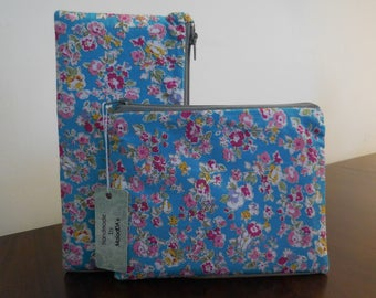 Handmade pencil case blue with pink floral 100% cotton makeup bag