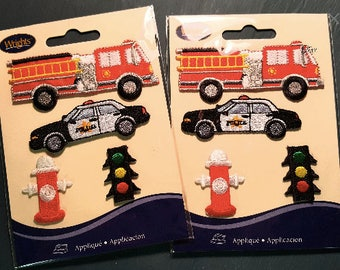 Fire Police Emergency Vehicle Appliques - Wrights Patches - Iron-On or Stitch - Includes Fire Hydrant and Traffic Light