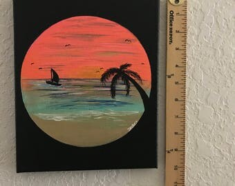 Coral Silhouette Sunset Acrylic Canvas Art Painting