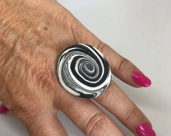 Black and White Swirl Polymer Clay Ring