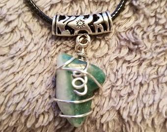 Jade & Silver Wire Necklace