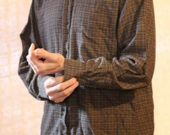 JHANE BARNES men's textured pattern cotton fabric made in Japan dress shirt