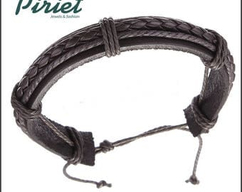 Faux leather bracelet and brown rope