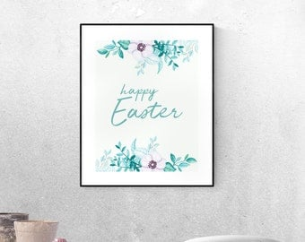 Easter housewarming etsy easter printable wall art easter wall art floral easter decoration happy easter printable negle Images