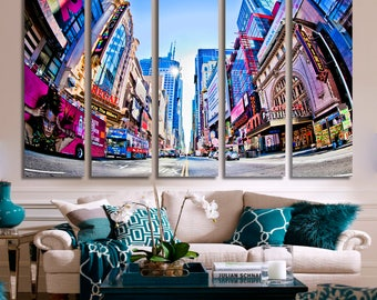 EXTRA LARGE 5 Panels Art Canvas Print Beautiful New York City Buildings Skyline Wall Decor Home Decor Interior Decoration