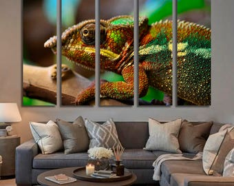 Chameleon Wall Art Chameleon Canvas Print Chameleon Large Wall Decor Chameleon Canvas Art Chameleon Painting Chameleon Poster Print Artwork