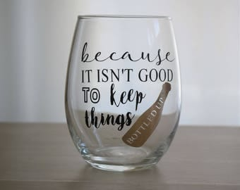 Wine pun stemless glass, funny gifts, Personalized, Wine gifts