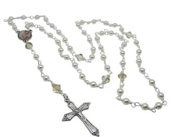 Catholic Rosary, Double Sided Rosary Centre with Holy Family and Candle, Baptism Rosaries, Rosary Beads, Rosary Handmade, Rosary Necklace,