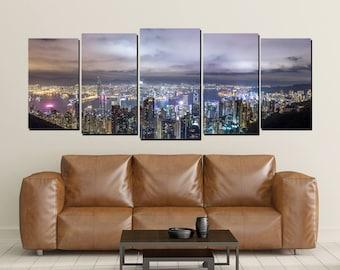 Hong Kong Canvas Wall Art, City Lights China Skyline Large 5 Panel Canvas, Sunset Dawn Dusk Home Decor Wall, Big City, Far East