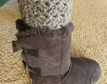 Gray Boot Cuffs, Crochet