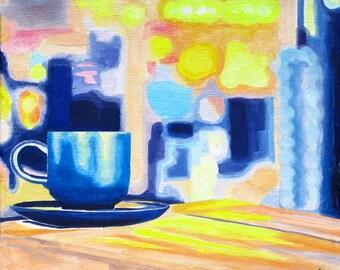 Coffee Painting on Canvas, Original Coffee Oil Painting, 8x8 Organic Cotton Canvas Handmade, Coffee Art, Coffee Decor, Coffee Artwork Canvas