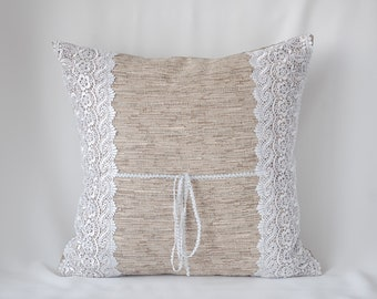 With white lace decorative throw pillow cover, gray original cushion 16x16 Rustic couch pillow with braid white