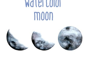 Watercolor Moon (3 phases)