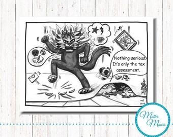"""Postcard """"Furious"""", cartoon, Cat, mouse"""