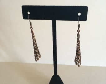 Copper woven earrings