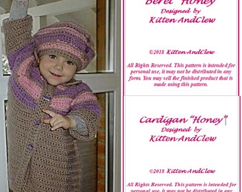 "Crochet Pattern Cardigan  ""Honey""( 6-12 months,2/3,4/5, 6/7) and Crochet Pattern Beret ""Honey""( 18 in, 19 in, 20 in, 21 in)"