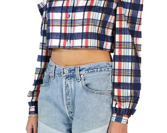 Redesigned Vintage Graff Californiawear Plaid Flannel Crop Top Cold Shoulder