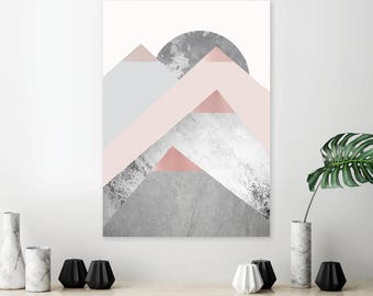 Minimalist Scandinavian modern mountain poster in blush pink and grey Mountain print No2 in set of 3 triptych prints Grey bedroom wall decor