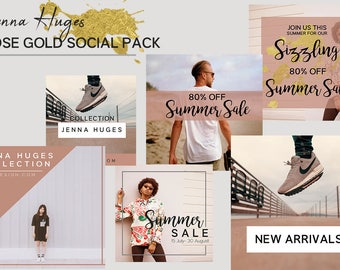 Social Media Template Pack | Rose Gold | 6 Square Photoshop Templates