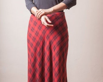 Vintage 90's Plaid Skirt, Long Red Skirt, Ankle Length Skirt,