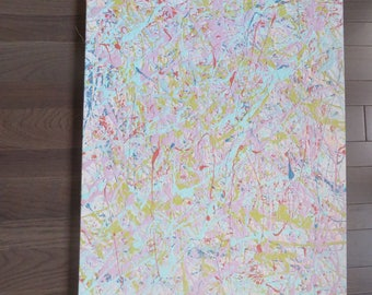 Original Pastel Colored Pollock Inspired Acrylic Painting
