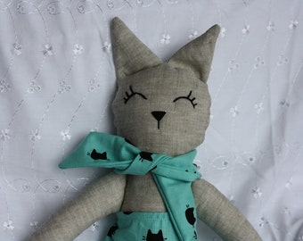 Cat made plush doll handmade doll collection.